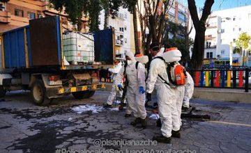 Photo of Los pueblos del Aljarafe desinfectan sus calles y edificios para combatir al coronavirus
