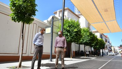 Photo of El centro peatonal de Tomares ya luce cubierto con toldos para facilitar el acceso a los comercios tradicionales