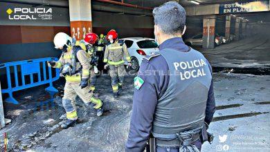 Photo of Un coche sale ardiendo en el parking de un centro comercial del Aljarafe